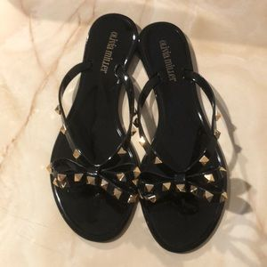 NIB studded bow jelly slippers